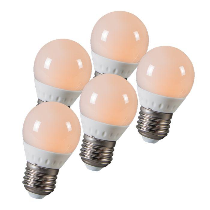 Zestaw-5-żarówek-LED-kulka-E27-3W-250-lumenów-ok.-25W