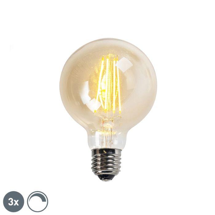 Zestaw-3-x-żarówka-LED-E27-G95-5W-2200K-złota-ściemnialna