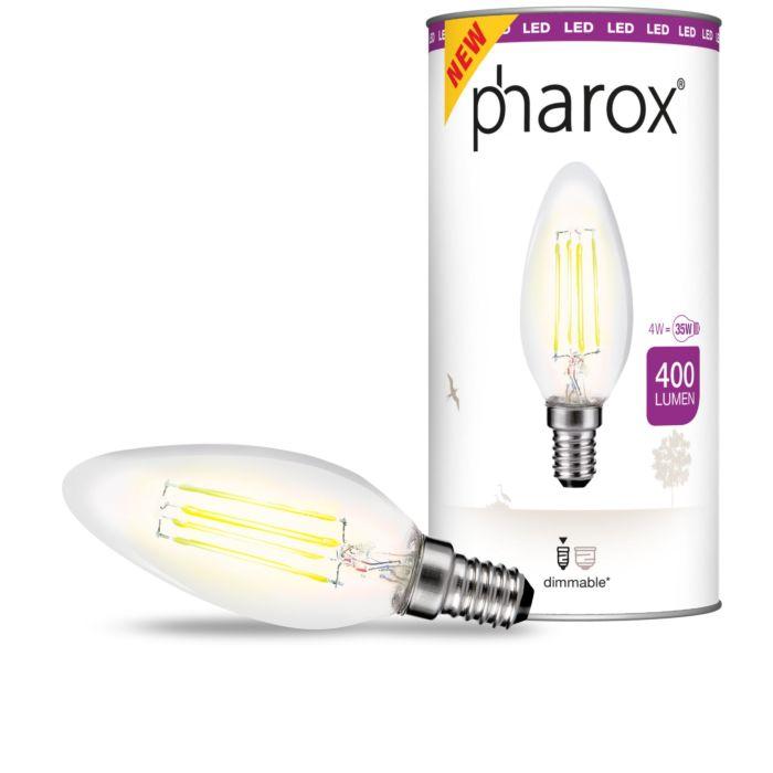 Żarówka-Pharox-LED-świeczka-Clear-400-lumenów