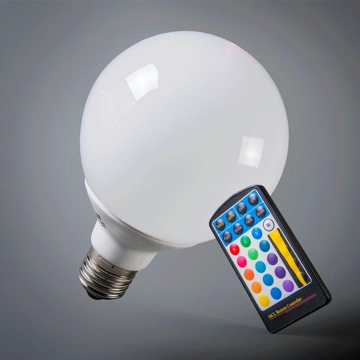 Żarówka-LED-RGB-kula-E27-95mm-z-pilotem