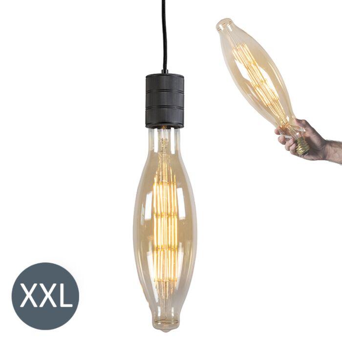 Lampa-wisząca-Elips-czarna-ze-ściemnianą-żarówką-LED