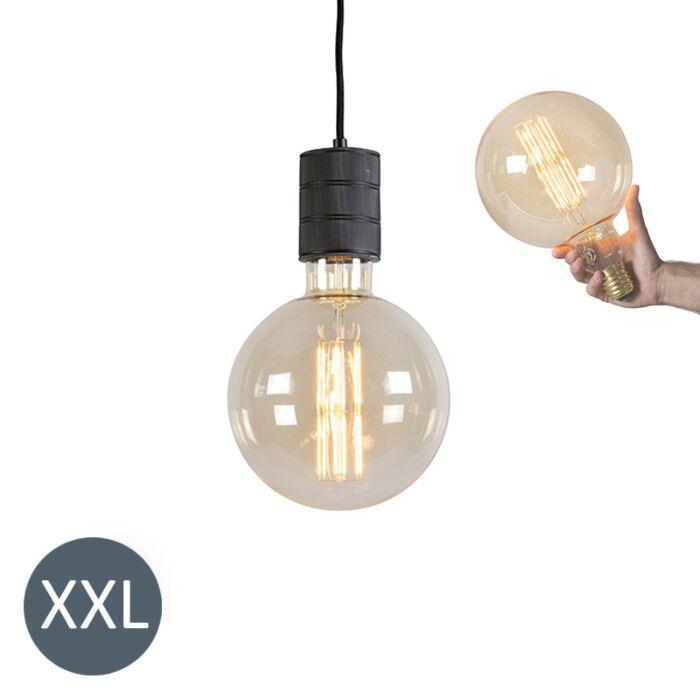 Lampa-wisząca-Megaglobe-czarna-ze-ściemnianą-żarówką-LED
