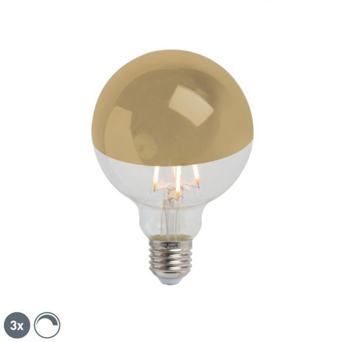 Zestaw-3-x-żarówka-lustrzana-LED-E27-G95-złota-280lm-2300K