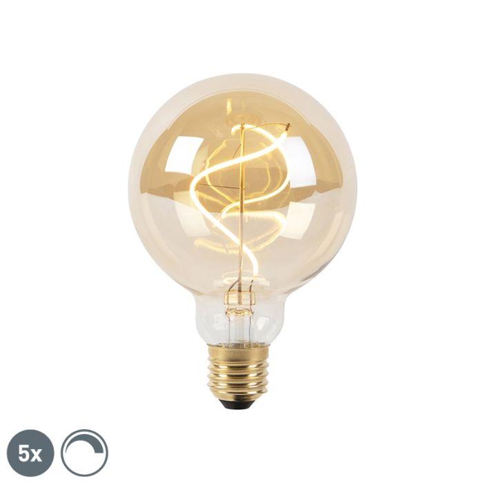 Zestaw-5-x-żarówka-LED-E27-G95-200lm-2100K-złota-spiralny-filament-ściemnialna
