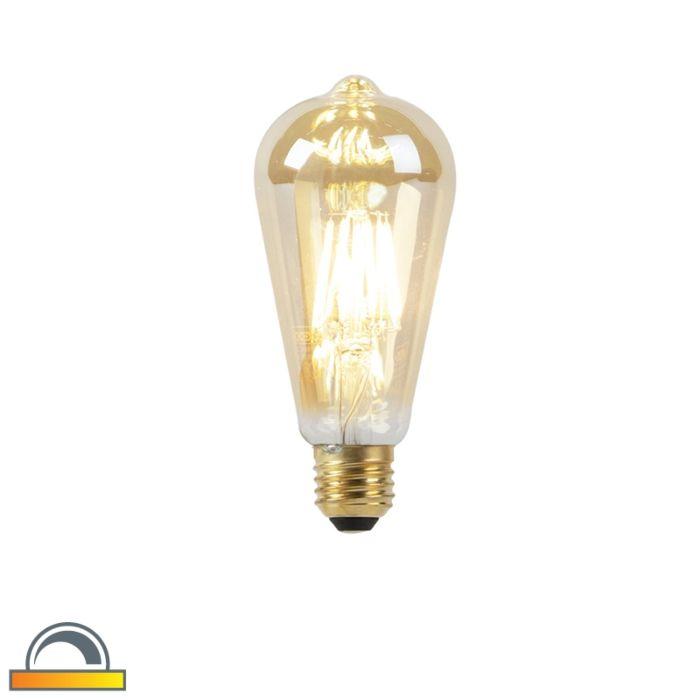 Lampa-LED-E27-ST64-8W-2000-2600K-ściemniana-na-ciepły-złoty-żarnik