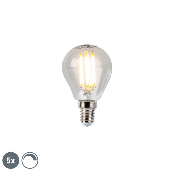 Zestaw-5-x-żarówka-LED-E14-filament-kulka-5W-470lm-2700K-ściemnialna