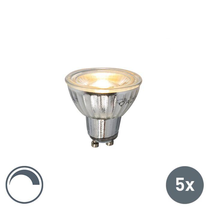 Zestaw-5-żarówek-GU10-LED-230V-5W-380LM-2700K-ściemnialna