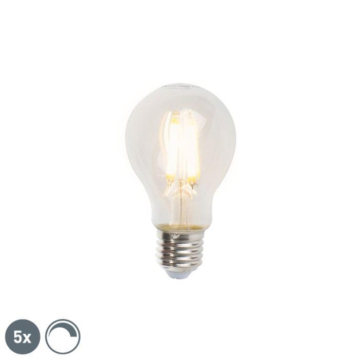 Zestaw-5-x-żarówka-LED-E27-filament-7W-806lm-A60-ściemnialna-przezroczysta