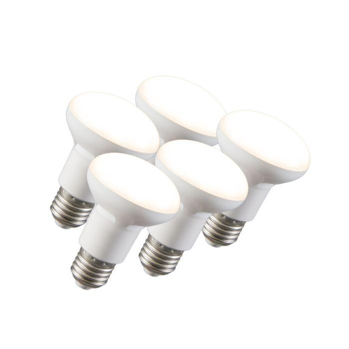 Zestaw-5-żarówek-LED-reflektor-R63-E27-240V-8W-2700K-ściemnialna