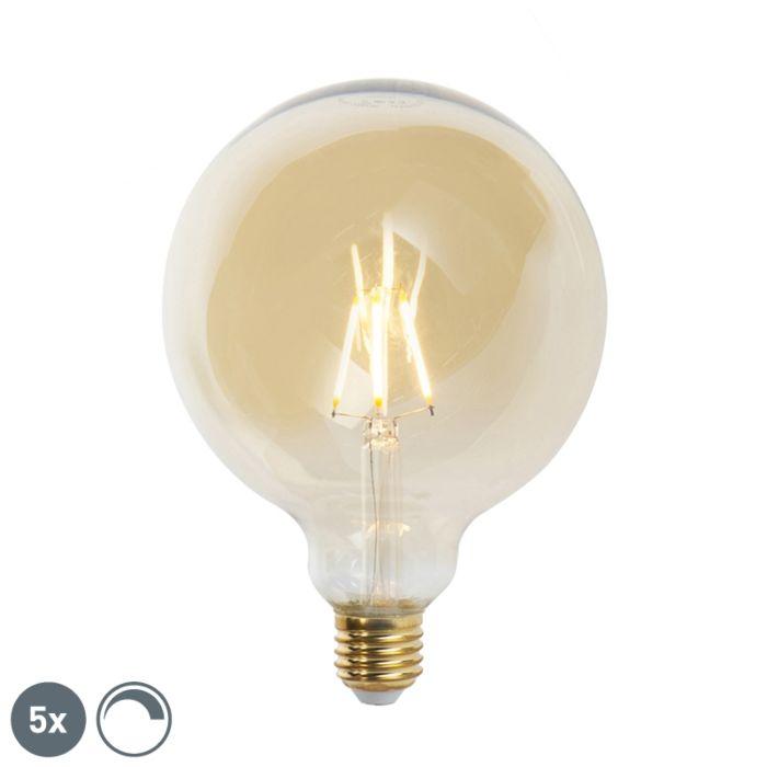 Zestaw-5-x-żarówka-LED-E27-G125-goldline-2200K-ściemnialna