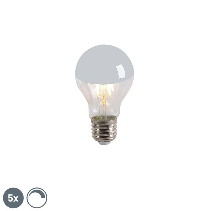Zestaw-5-x-żarówka-lustrzana-LED-E27-A60-4W-300lm-2300K-ściemnialna