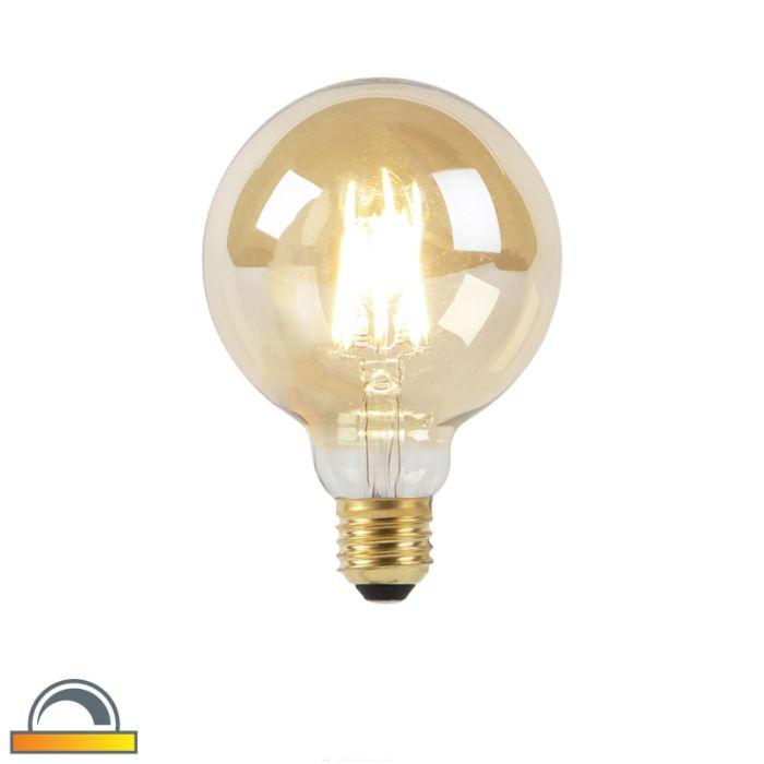 Żarówka-LED-E27-G95-8W-2000-2600K-złota-filament-ściemnialna-