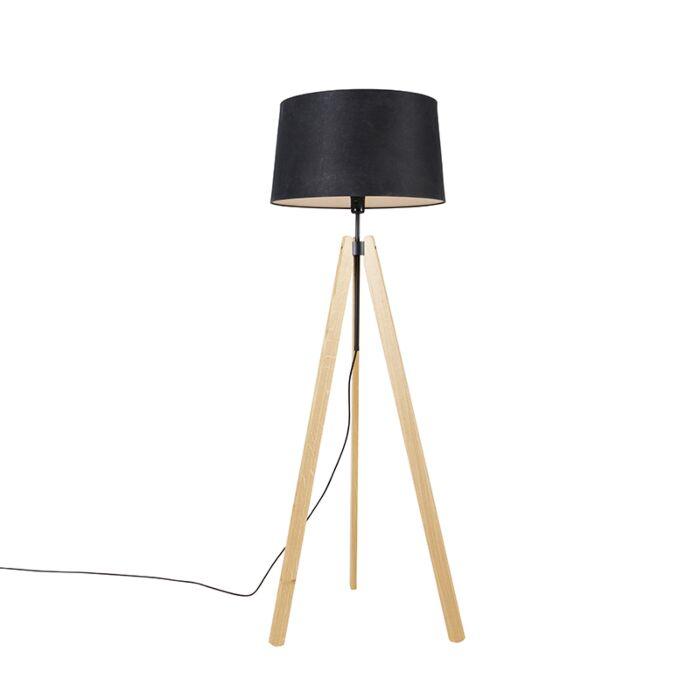 Nowoczesna-lampa-podłogowa-drewniana-lniana-klosz-czarny-45-cm-statyw---Telu