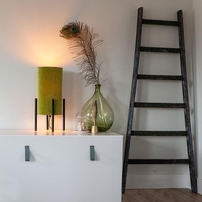Designerska-lampa-stołowa-czarna-klosz-welurowy-zielono-złoty---Rich