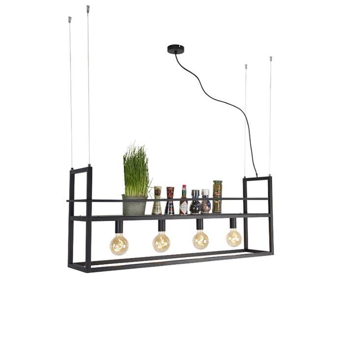 Przemysłowa-lampa-wisząca-czarna-z-dużym-stojakiem-4-punktowym---Cage-Rack