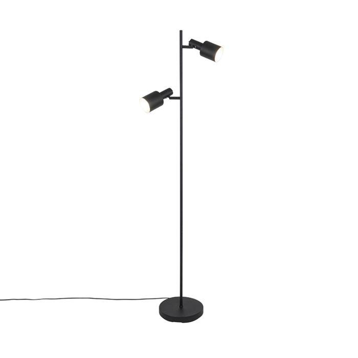 Nowoczesna-lampa-podłogowa-czarna-ze-złotymi-2-lampkami---Lynn