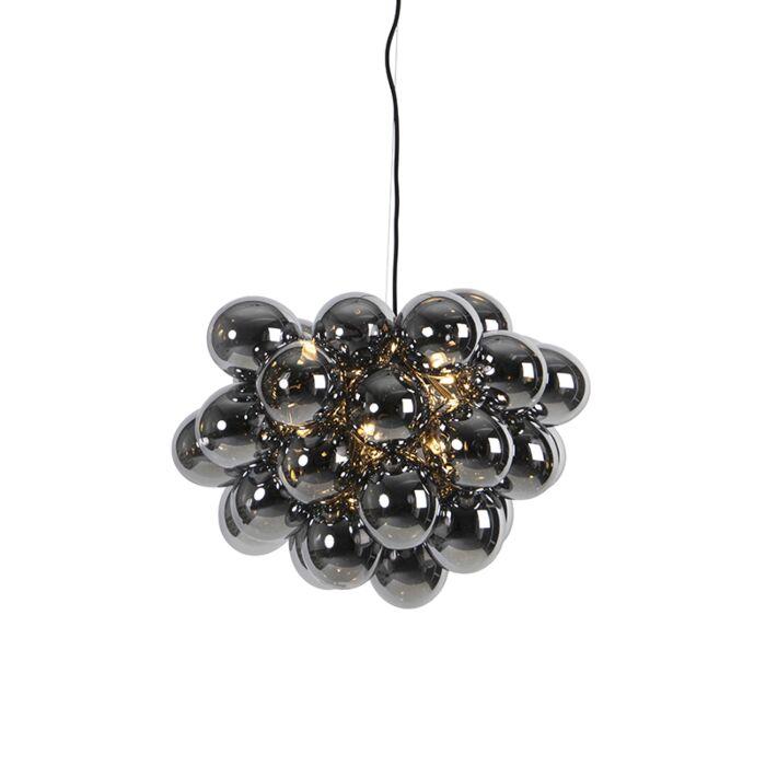 Designerska-lampa-wisząca-czarna-szkło-przydymione-8-źródeł-światła---Uvas