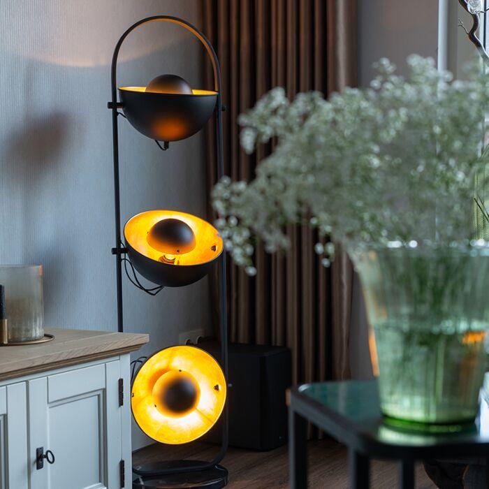 Przemysłowa-lampa-podłogowa-czarna-ze-złotymi-3-punktami---Emilienne-Novo