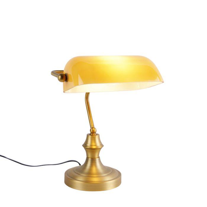 Klasyczna-lampa-bankierka-mosiądz-bursztynowe-szkło---Banker