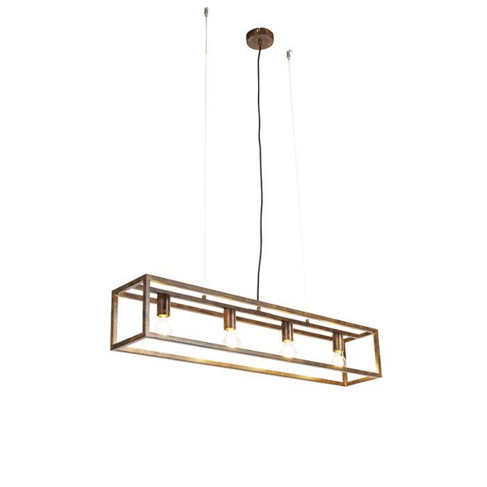 Przemysłowa-lampa-wisząca-rdzawobrązowa-4-źródła-światła---Cage