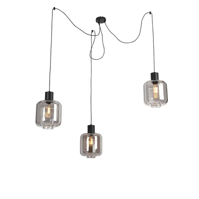 Designerska-lampa-wisząca-czarna-szkło-przydymione-3-źródła-światła-226cm---Qara