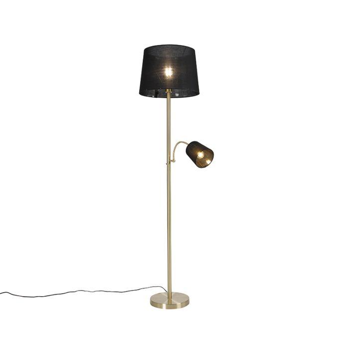Klasyczna-lampa-podłogowa-złoty-abażur-z-tkaniny-czarny-z-lampką-do-czytania---Retro