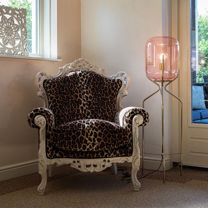 Lampa-podłogowa-art-deco-mosiądz-różowe-szkło---Bliss