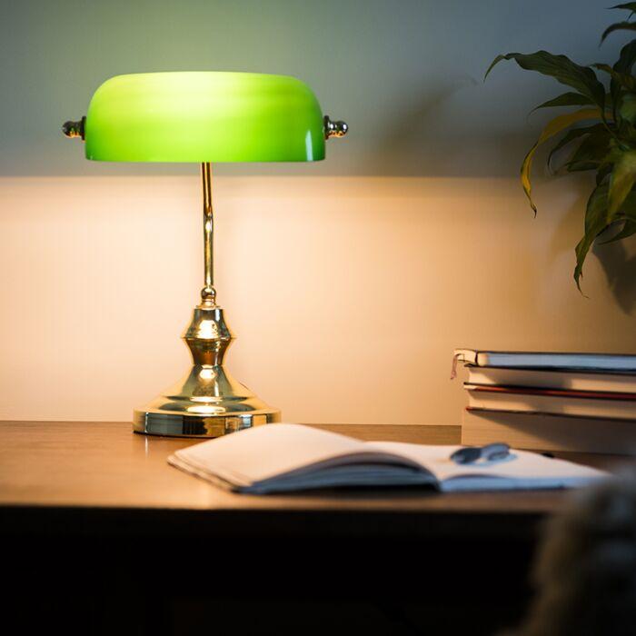 Klasyczna-lampa-bankierka-mosiądz-zielone-szkło---Banker