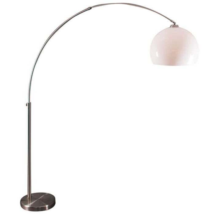 Lampa-podłogowa-łuk-stal-biały-klosz-z-pleksy