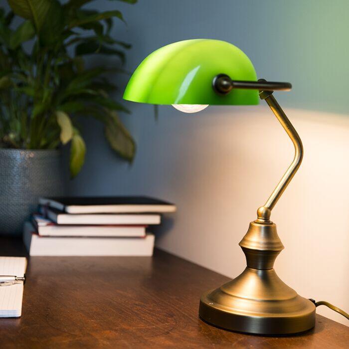 Klasyczna-lampa-bankierka-brąz-zielone-szkło---Banker