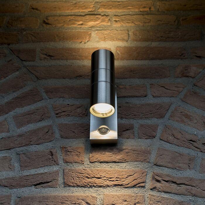 Lampa-zewnętrzna-Duo-stal-z-czujnikiem-ruchu-na-podczerwień