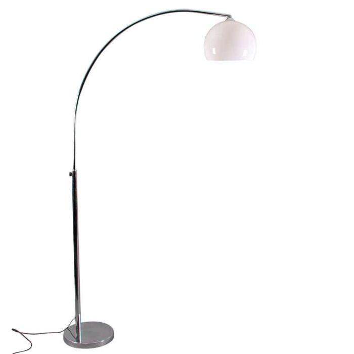 Lampa-podłogowa-łuk-chrom-biały-klosz