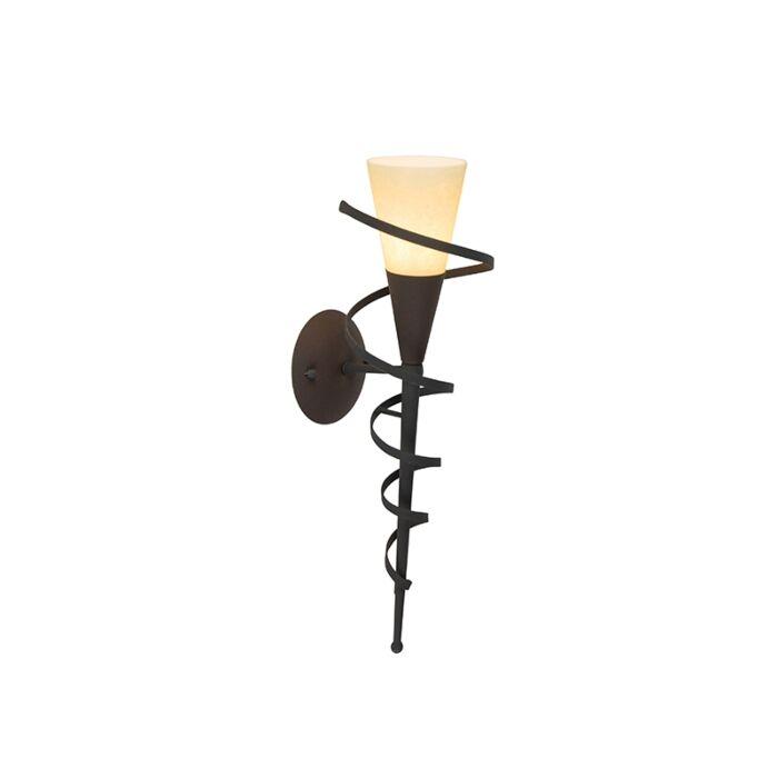Wiejska-lampa-ścienna-w-kolorze-brązowym-z-kremowym-szkłem---Zamek