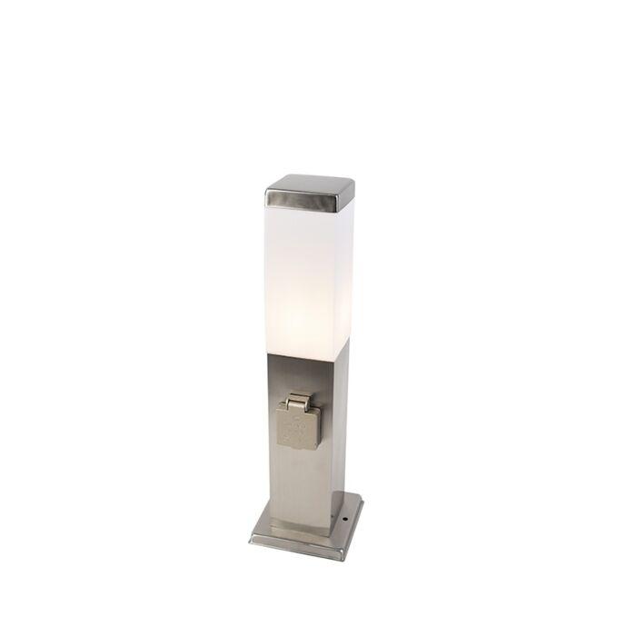 Lampa-zewnętrzna-stal-45cm-z-gniazdem-IP44---Malios