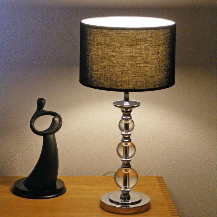 Lampa-stołowa-Calabash-chrom-czarny-klosz