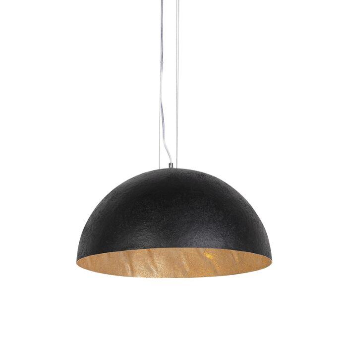 Nowoczesna-lampa-wisząca-czarna-ze-złotym-wnętrzem-50cm---Magna