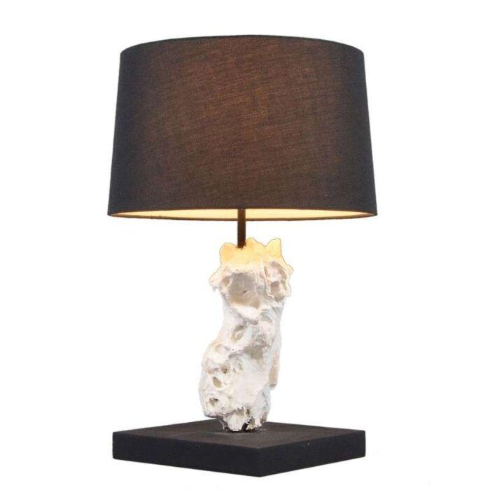 Lampa-stołowa-Kanya-biała-z-czarnym-kloszem