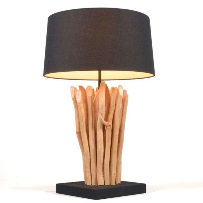 Lampa-stołowa-Phatom-naturalna-z-czarnym-kloszem