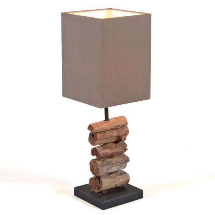 Lampa-stołowa-Mayoree-brązowy-klosz