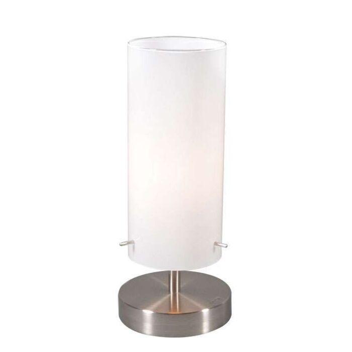 Lampa-stołowa-Boy-1-stal-biały-klosz