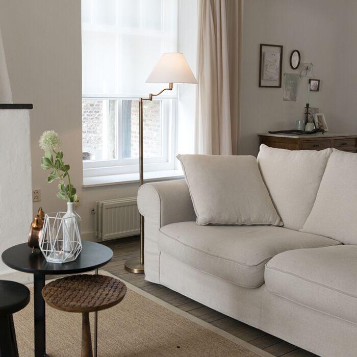 Lampa-podłogowa-Swing-brąz-biały-klosz