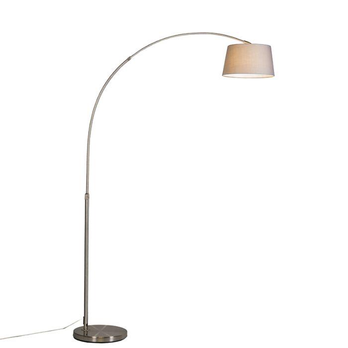 Nowoczesna-lampa-łuk-stal-klosz-bawełniany-szary---Arc-Basic