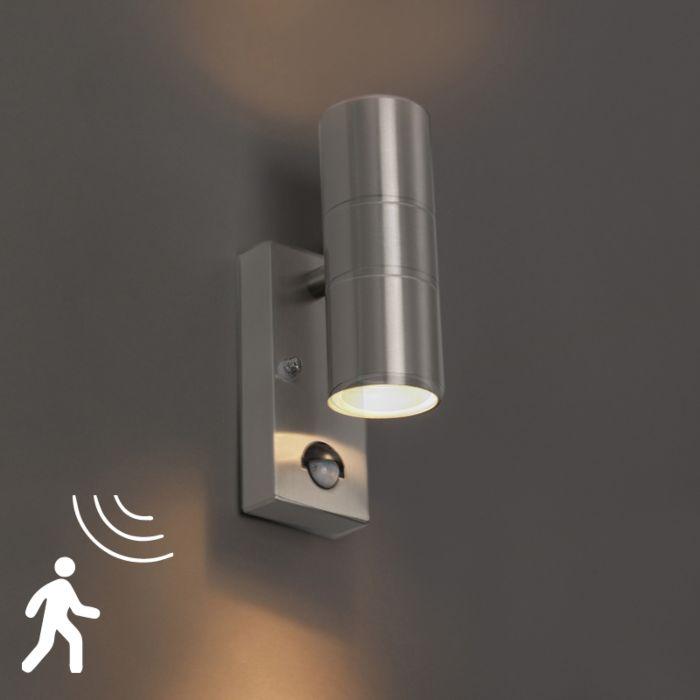 Kinkiet-zewnętrzny-stal-IP44-z-czujnikiem-ruchu---Duo