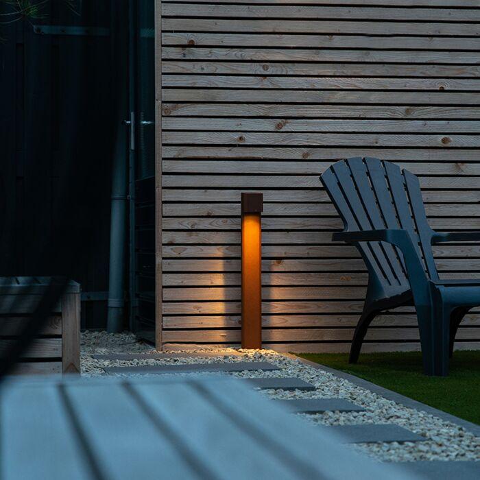 Przemysłowa-lampa-stojąca-zewnętrzna-rdzawobrązowa-65cm-IP44---Baleno