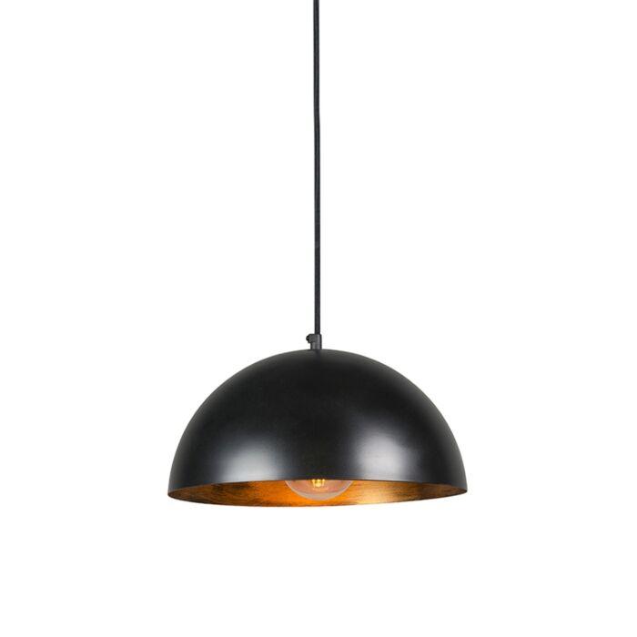 Industrialna-lampa-wisząca-czarna-ze-złotym-wnętrzem-35cm---Magna-Eco