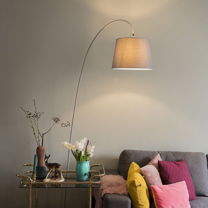 Nowoczesna-lampa-podłogowa-łuk-szary-klosz---Bend