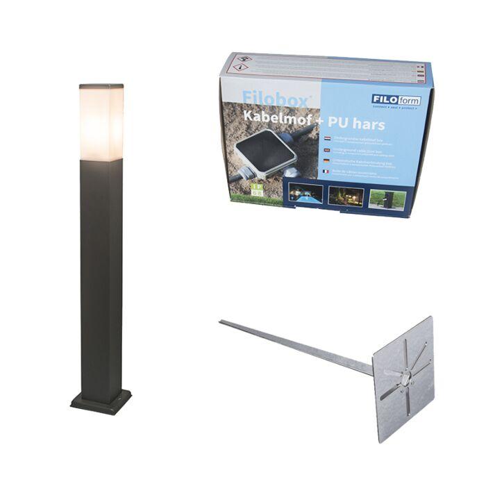 Lampa-zewnętrzna-antracyt-80cm-IP44-z-klinem-i-mufą-kablową---Malios