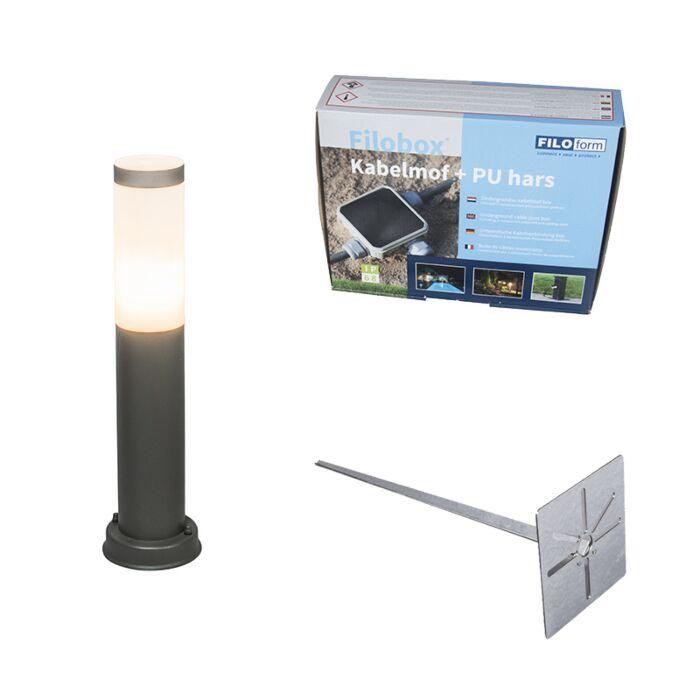 Lampa-zewnętrzna-antracyt-45cm-IP44-z-klinem-i-mufą-kablową---Rox