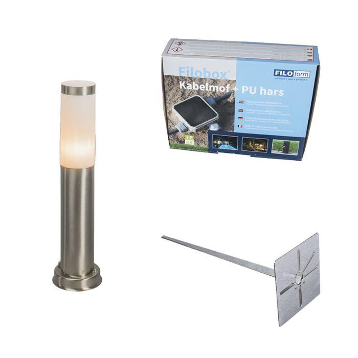 Lampa-zewnętrzna-stal-45cm-IP44-z-klinem-i-mufą-kablową---Rox