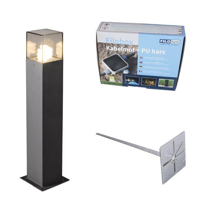 Lampa-zewnętrzna-antracyt-50cm-IP44-z-klinem-i-mufą-kablową---Denmark